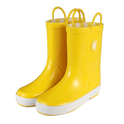 KomForme Kids Rain Boots, Plain Color Girl Rubber Boots Waterproof with Handles Yellow