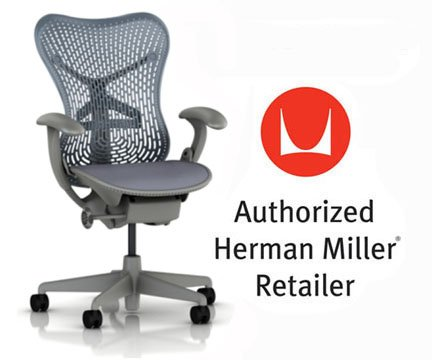 [Herman Miller Mirra Chair Basic Home Office Desk Task Chair Shadow Frame with Blue Fog Triflex Seat and Back Fixed Arms plus Hard Floor Soft Casters] (Herman Miller Mesh Chair)