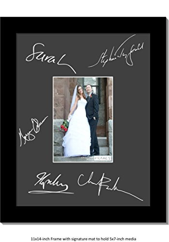 CreativePF [5x7-11x14bk-b] Signature Frame - Photo Frame with Black Mat Holds 5x7-inch Media including Easel Stand with Installed Wall Hangers - 14bk Satin