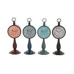 Benzara 92239 Stunning and Unique Metal Table Clock 4 Assorted