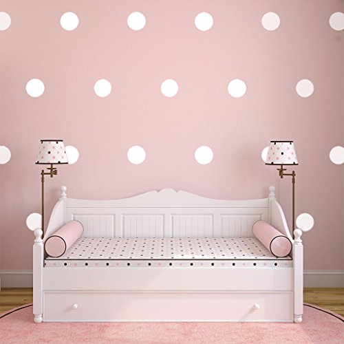 Stick On Border - White Polka Dots Wall Decals (6