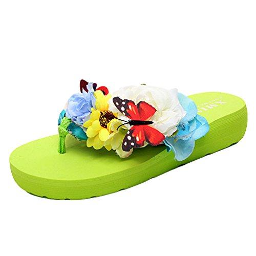 YOUJIA Mujeres Boho Flores Chanclas Verano Playa Zapatos de cuña Plataforma Zapatillas #1 Verde Hoja
