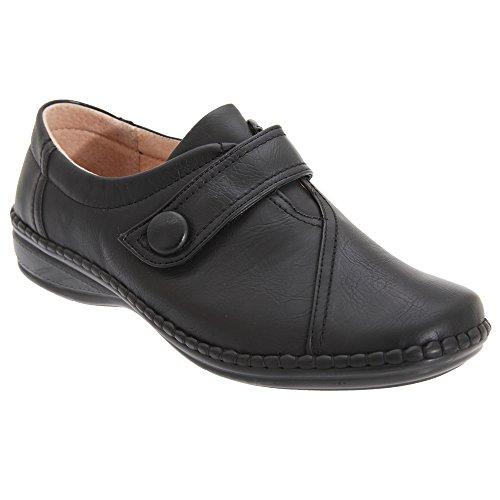 Boulevard Zapatos con Tira de Velcro con Ancho Especial XXX Para Mujer azul claro/azul marino