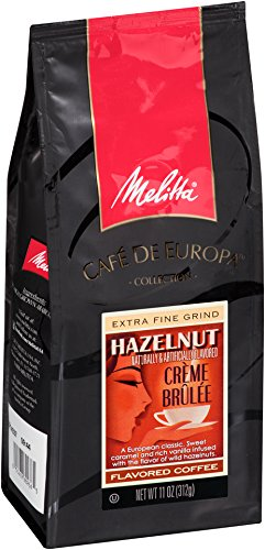 Melitta Café de Europa Gourmet Coffee, Hazelnut Crème Brulee Ground,Flavored, 11-Ounce (Pack of 3) ()