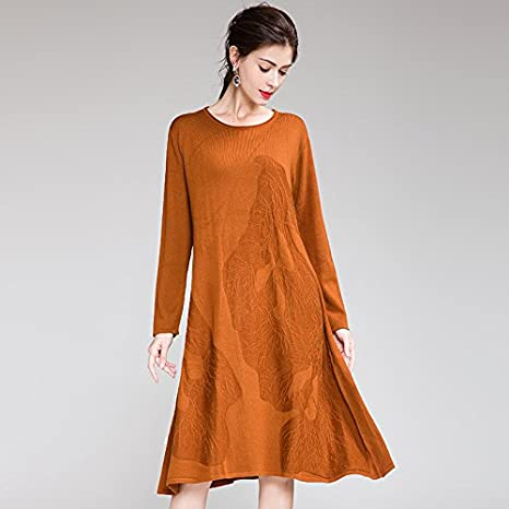 61ae0a3ab445 HIDRRU Womens lana abiti sottile 2107 timbro collare tondo maniche lunghe