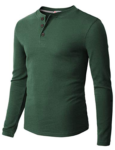 H2H Mens Casual Henley Long Sleeve Waffle Cotton T-Shirts Green US 3XL/Asia 4XL (CMTTL0104)