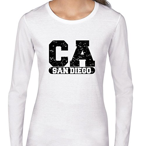 Hollywood Thread San Diego, California CA Classic City State Sign Women's Long Sleeve T-Shirt for $<!--$29.95-->