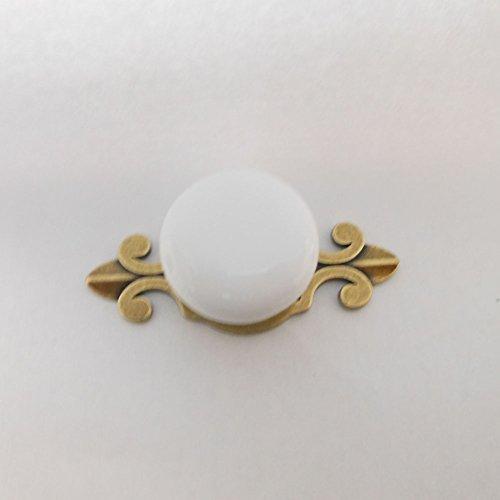 Drawer Knob Plane (Tangpan(TM) 32mm Round Ceramic Knobs Bronze Zine Alloy Base Cupboard Drawer Ceramic Cabinet Wardrobe Pull Handle Color White Pack of 6)