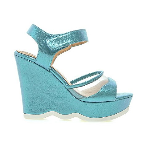 Amoonyfashion Donna Morbido Materiale Uncino-e-loop Open Toe Tacchi Sandali Solidi Blu