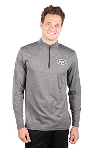 Icer Brands NFL New York Jets Men's Quarter Zip Pullover Shirt Athletic Quick Dry Tee, X-Large, Gray