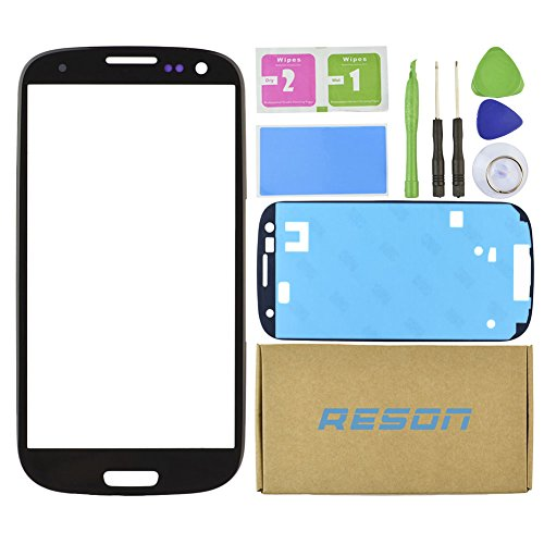 Reson® Black Front Outer Screen Glass Lens Replacement Kit for Samsung Galaxy S3 I9300 I747 T999 I535 +Tools Kit+dry/wet/dust Cleaning Paper+adhesive Sticker Tape