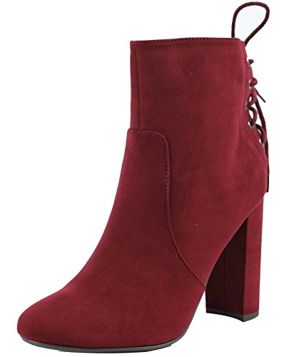 Delicious Women's Faux Suede Closed Toe Back Lace Tie Chunky Heel Ankle Bootie