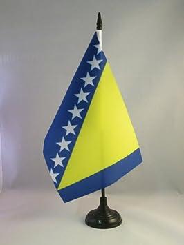 AZ FLAG Bandiera da Tavolo Bosnia ED Erzegovina 15x10cm Piccola BANDIERINA BOSNIACA 10 x 15 cm
