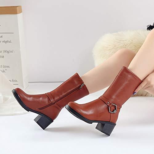 HAOLIEQUAN donna donna donna Square Tacco Mid Spring Round Toe Thigh Stivali Invernali Alti Fibbia, A, 5 968fad