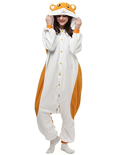 [Adult Hamster Onesie Halloween Kigurumi Costume Pajamas Partywear Outfit for Women Men XL] (Animal Costumes Coupon Code)