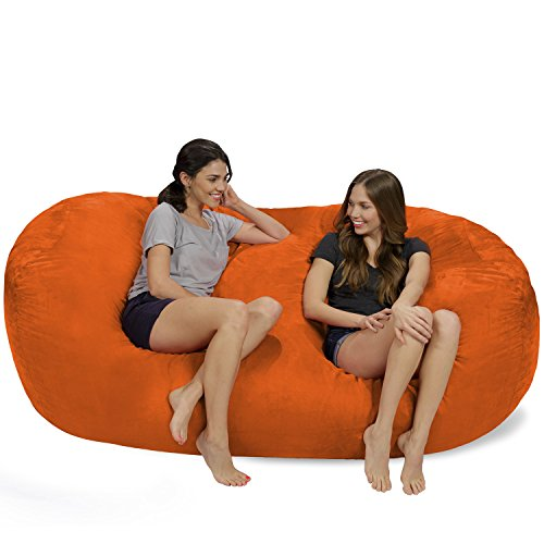 Chill Sack Bean Bag Chair: Huge 7.5' Memory Foam Furniture Bag and Large Lounger - Big Sofa with Soft Micro Fiber Cover - Orange