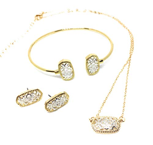 Inspired Fashion Metal Filigree Complete Set Necklace, Earrings and Bracelet in Gold/Silver Tone