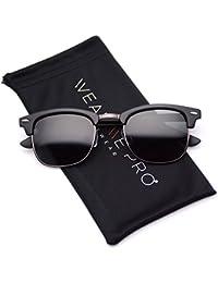 Polarized Clubmaster Classic Half Frame Semi-Rimless Rimmed Sunglasses