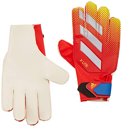 adidas X Lite Goalkeeper Gloves, Active Red/Solar Yellow/Football Blue, Size 4 - Kids Goalie Gloves