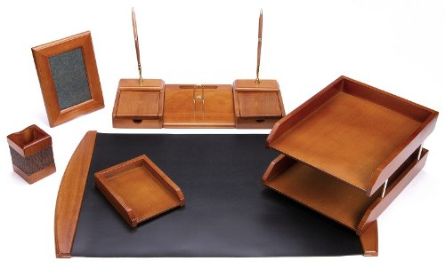 Majestic Goods Six Piece Brown Oak Wood Desk Set (W450) by Majestic Goods