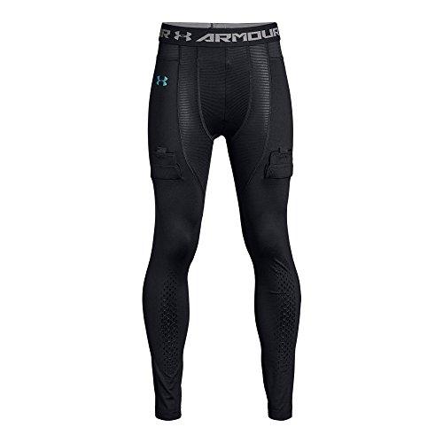 Under Armour Boys Hockey Compression Leggings, Black (001)/Iridescent Foil, Youth Medium (Hockey Leggings)