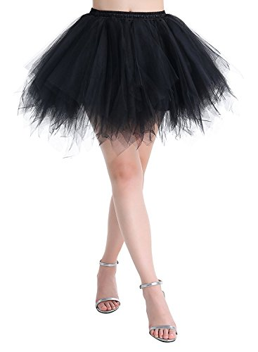 Adult Women 80's Tutu Skirt Layered Tulle Petticoat Halloween Tutu Black]()