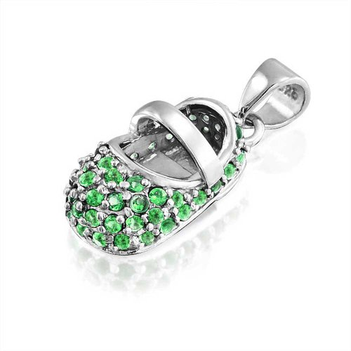 Simulated Emerald Baby Shoe Sterling Silver Pendant