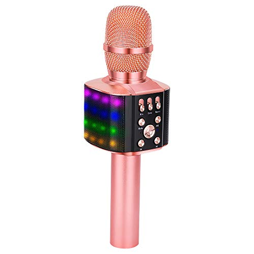 BONAOK Upgraded Wireless Bluetooth Karaoke Microphone with controllable LED...