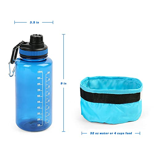 PrimePets Dog Water Bottle Collapsible Dog Bowl Set for Traveling, 1000ml / 32oz Pet Drinking Bottle with Spout Lid, Foldable Fabric Pet Bowl with Carabiner for Outdoor Hiking and Walking