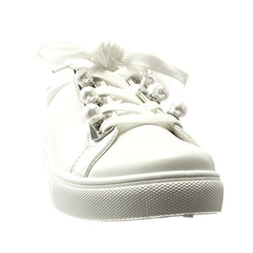 Perle Cm Mode Blanc Angkorly Basse 0 Talon Chaussure Plat Baskets Bijoux Femme 6C5qvXaT5