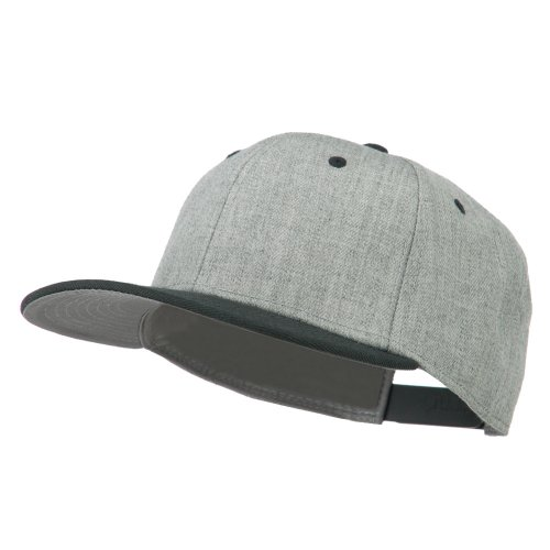 Heather Wool Blend Flat Bill Snapback Two Tone Cap - H. Black Grey OSFM