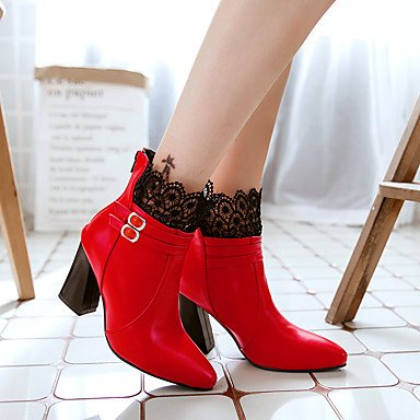 Damen Stiefel Komfort Kunstleder Herbst Winter Normal Kleid Walking Schnalle Blockabsatz Weiß Schwarz Rot 7,5 - 9,5 cm red