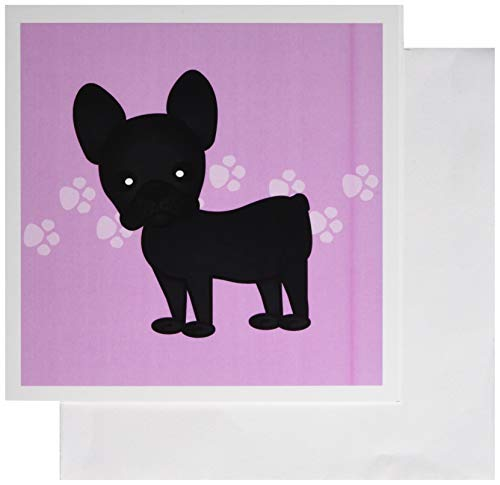 3dRose Greeting Cards, Cute Black Brindle French Bulldog Pink with Pawprints, Set of 6 (gc_25319_1) ()