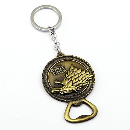 Authentic: House Stark Direwolf Sigil Keychain & Bottle Opener Made of Kirsite (Gold)