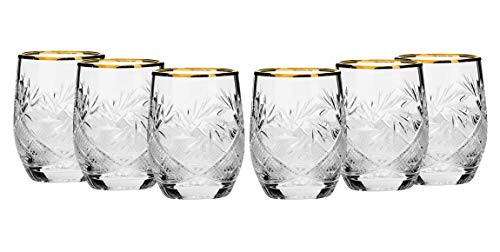 SET of 6 Russian Cut Crystal Shot Shooter Glasses 24K Gold Rimmed 1.7 Oz. Vodka Liquor Old-fashioned Glassware Hand - Crystal Set Glass Shot