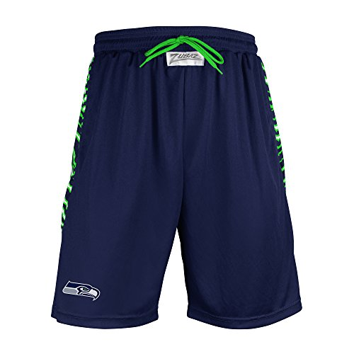NFL Seattle Seahawks Men's Zubaz Zebra Print Accent Team Logo Active Shorts, Medium, Navy (Gear Seattle Fan Seahawks)