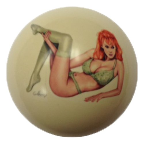 Green Lace Girl Cue Ball Custom for Pool Players by D&L - Pool Cues Green Custom
