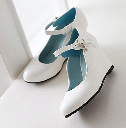 Easemax Élégante Boucle Femme Bride À La Cheville Mi-talon Bout Rond Pompes Wedge Chaussures Blanc