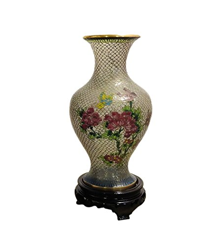 Cloisonne Vase - Cloisonne Translucent Vase with Gold Trim and Detail - 2 Sizes to Choose By Your Own (small size about 8 inches Tall X 3.5 inches Wide)