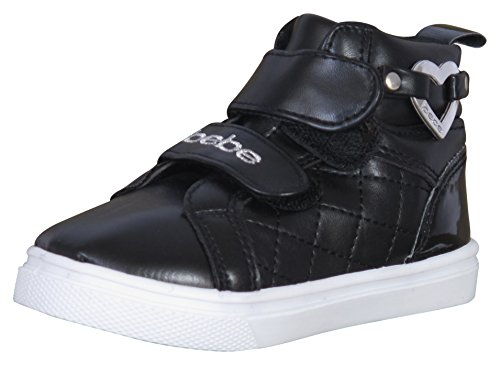 Shoes Flat Sparkly ('Bebe Toddler Girls High Top Sneakers with Quilting and Bebe Heart Embellishment, Black/Silver, Size)