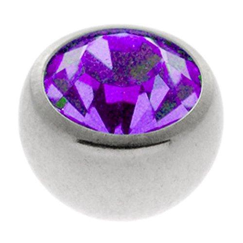 Steel Threaded Jewelled Balls - Purple 3mm ()