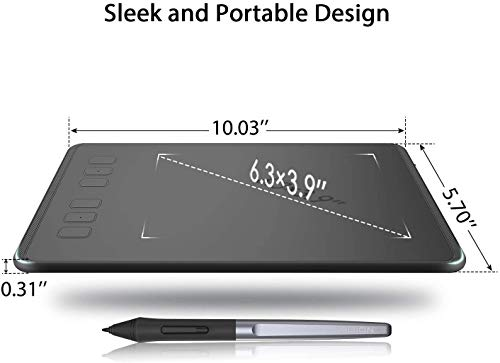 HUION H640P Graphic Tablets OSU Drawing Tablet with 6 Shortcut Keys, Battery-Free Stylus, 8192 Pressure Sensitivity, Compatible with Mac, PC or Android Mobile