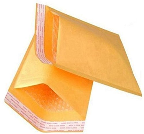 CD size Kraft bubble mailers. Usable size 7 1/4 x 7 ( 7.25 x 7 ). Interior size 7 1/4 x 8 ( 7.25 x 8 ). Pack of 20 yellow padded envelopes. Peel-N-Seal. Mailing & shipping & packaging. Mfg# 7x7 / 7x8.
