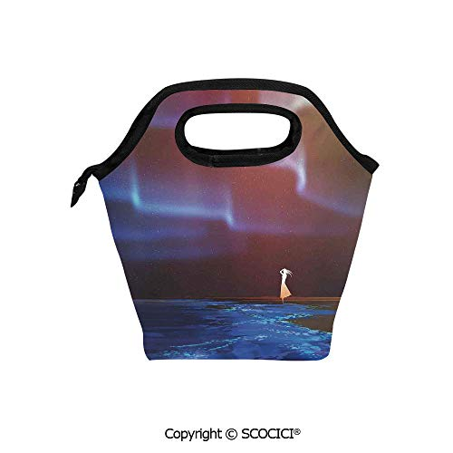 (Reusable Printed Design Lunch Bag Woman on Beach Psychedelic Northern Lights Sky Star Picture Print Lunch Tote bag for Work and School.)
