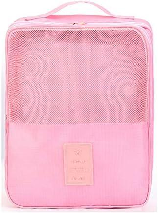 トラべラブ圧縮バッグ スーツケース旅行荷物オーガナイザー旅行の必需品バッグシューズ収納袋用パッキングキューブ トラベルポーチ 出張 旅行 便利グッズ (Color : Pink, Size : Free size)