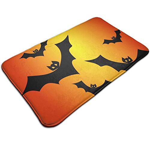 (Cooby Roman Fashion Non-Slip Doormats Entrance Floor Rug Halloween Bats Vector Clipart Illustration Flannel Indoor Mat for Home Decoration 19.68x31.49)