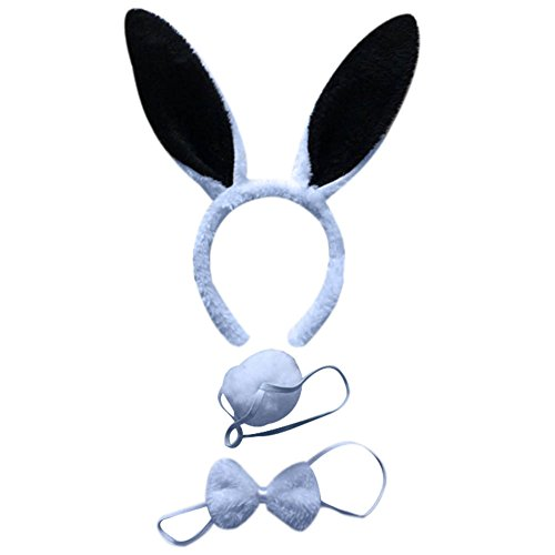 Mwfus 3pcs Long Rabbit Ears Halloween Costume Bunny Headband Bowtie Tail Accessories Set ()