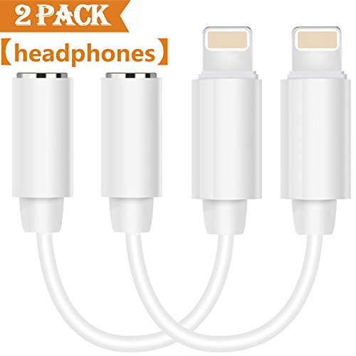 Earphone Adapter (Lightning Jack Audio Headphone Adapter for iPhone 7/7 Plus. Lightning to 3.5 mm Earphone Jack Adaptor for iPhone 6/6 Plus AUX Convenient Cable Accessories White[2Pack] Compatible with iOS 10.2)