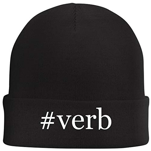 Tracy Gifts #Verb - Hashtag Beanie Skull Cap with Fleece Liner, Black, One Size (List Of English Verbs And Their Conjugations)