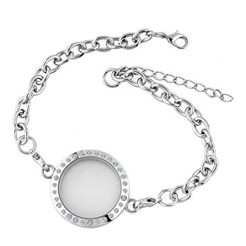 CharmsStory Round Floating Charm Locket Chain Glass Circle Magnetic Bracelet